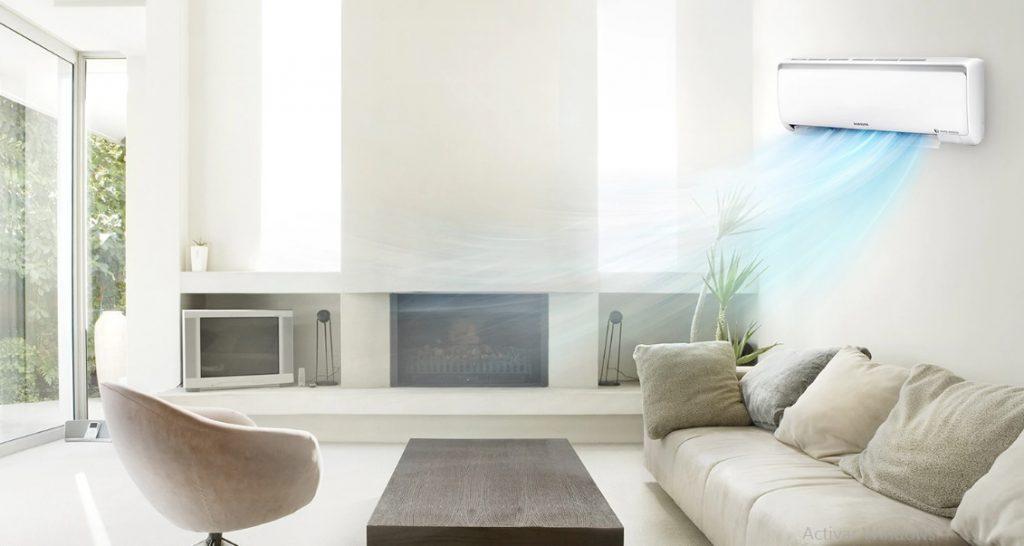 Imagem de um ar condicionado Samsung.