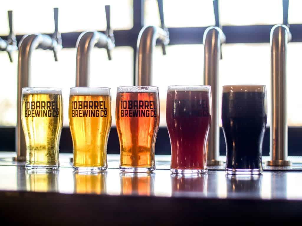 Foto de vários copos de cerveja enfileirados com tipos de cerveja diferentes.