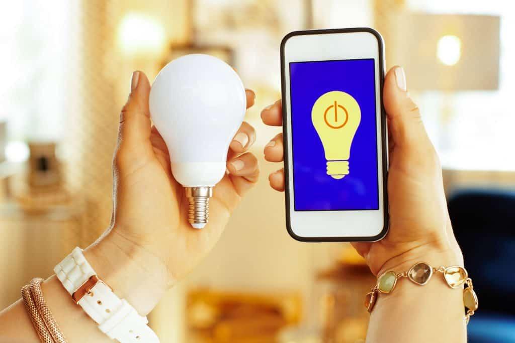 Na foto uma mulher segurando uma lâmpada ao lado de um celular.