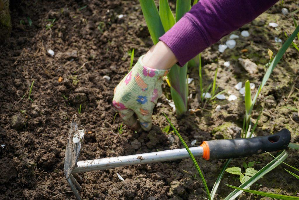 Imagem de pessoa trabalhando no jardim com auxílio de uma pá metálica com garfo de três pontas