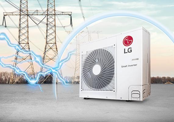 Um ar-condicionado LG ao lado de duas torres de tensão.
