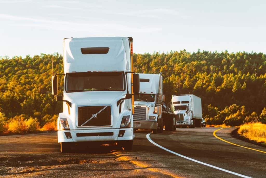 Imagem mostra três caminhões enfileirados no acostamento de uma estrada estreita e arborizada.