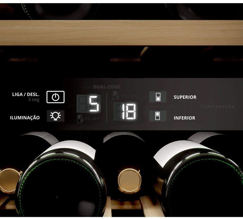 Imagem de adega climatizada Brastemp com destaque para o display