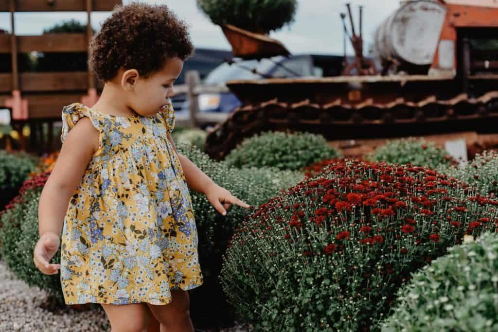 Na foto uma menina pequena de vestido olhando para um jardim.