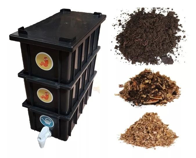 Mini Composteira Doméstica com 12 litros de capacidad.