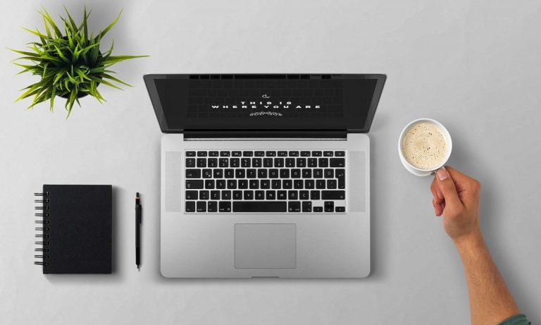 Foto tirada de cima que mostra um notebook aberto, uma mão segurando uma xícara com bebida quente, um caderno preto, uma lapiseira e um vaso com uma planta artificial.