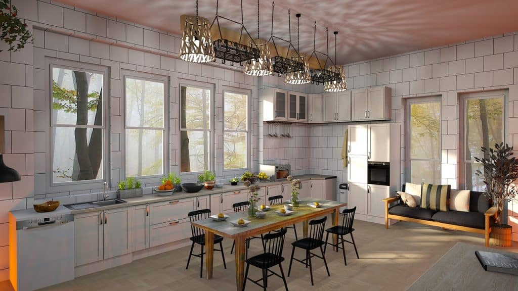 Imagem de mesa de jantar integrada em cozinha aberta.