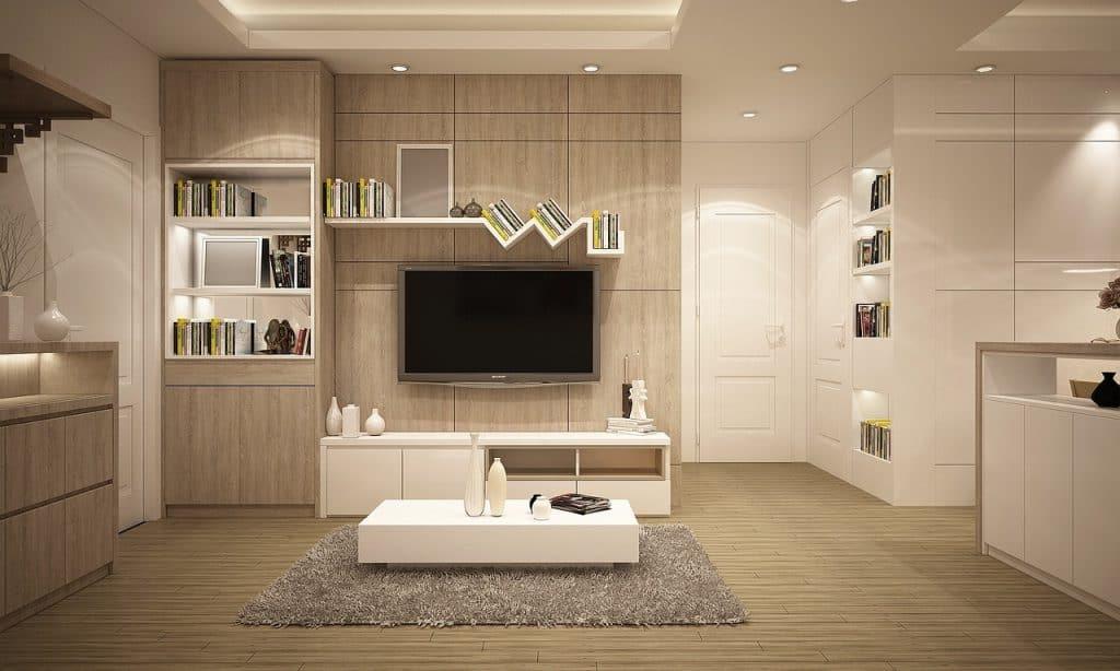 Estante para TV em sala de estar.