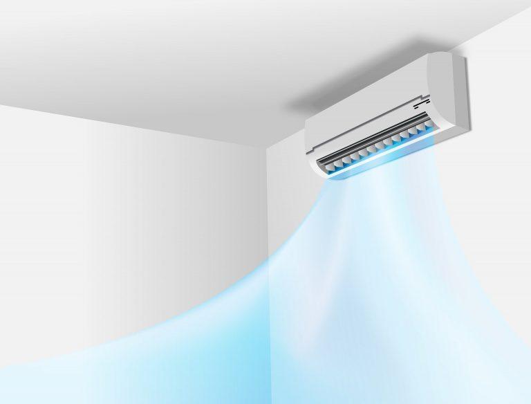 Desenho de um ar condicionado split refrigerando uma sala