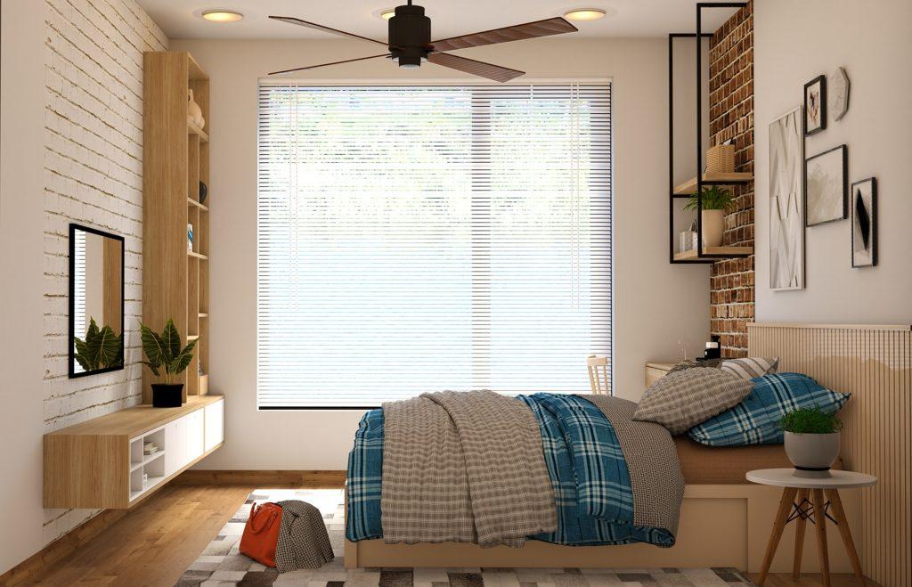 Imagem de quarto com ventilador de teto