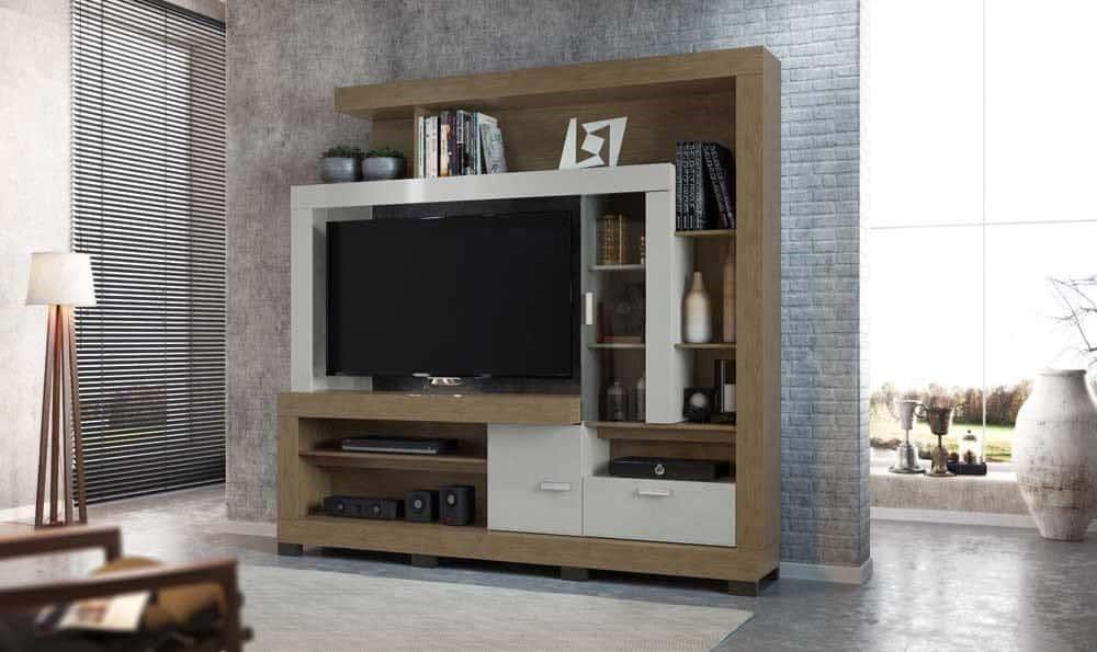 Sala de estar muito moderna com linda estante para TV.