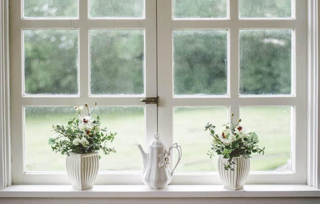 Imagem de vasos com flores em janela.