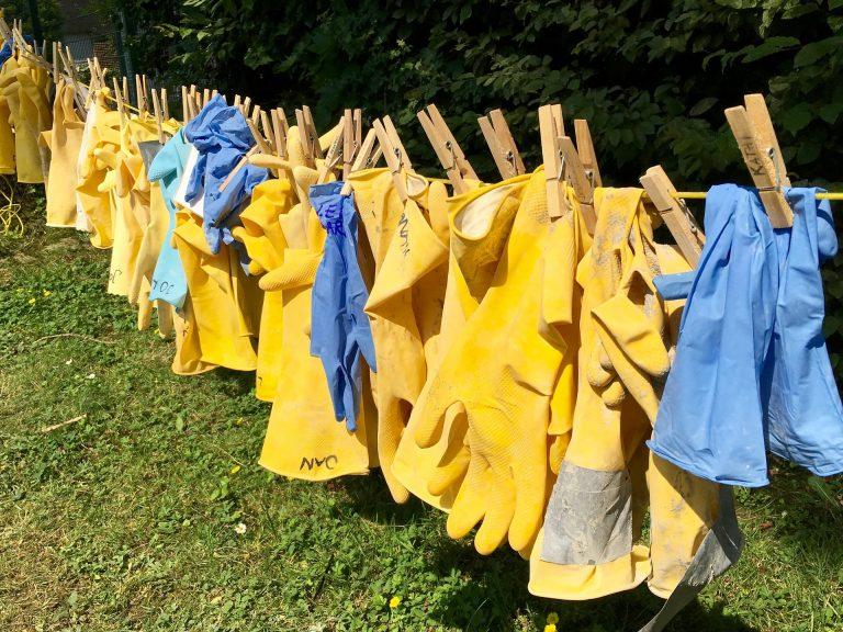 Imagem de várias luvas de látex penduradas para secar em um varal