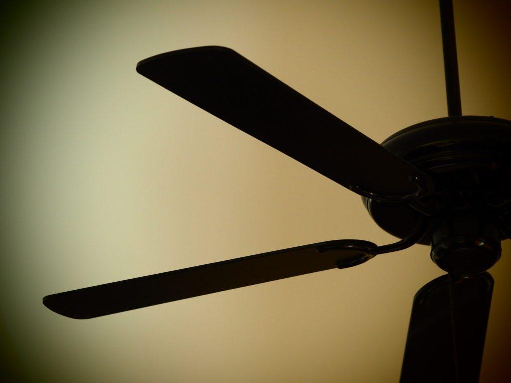 Na foto um ventilador de teto preto.