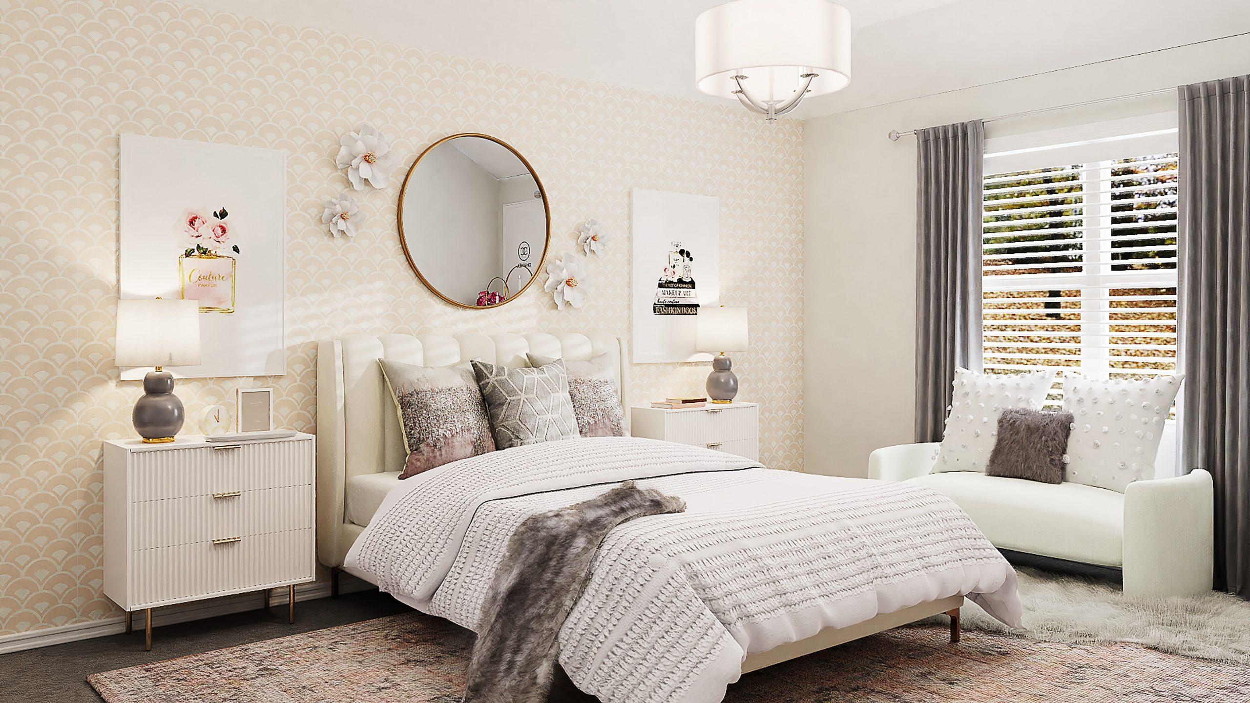 Na foto um quarto feminino com decoração de flores.
