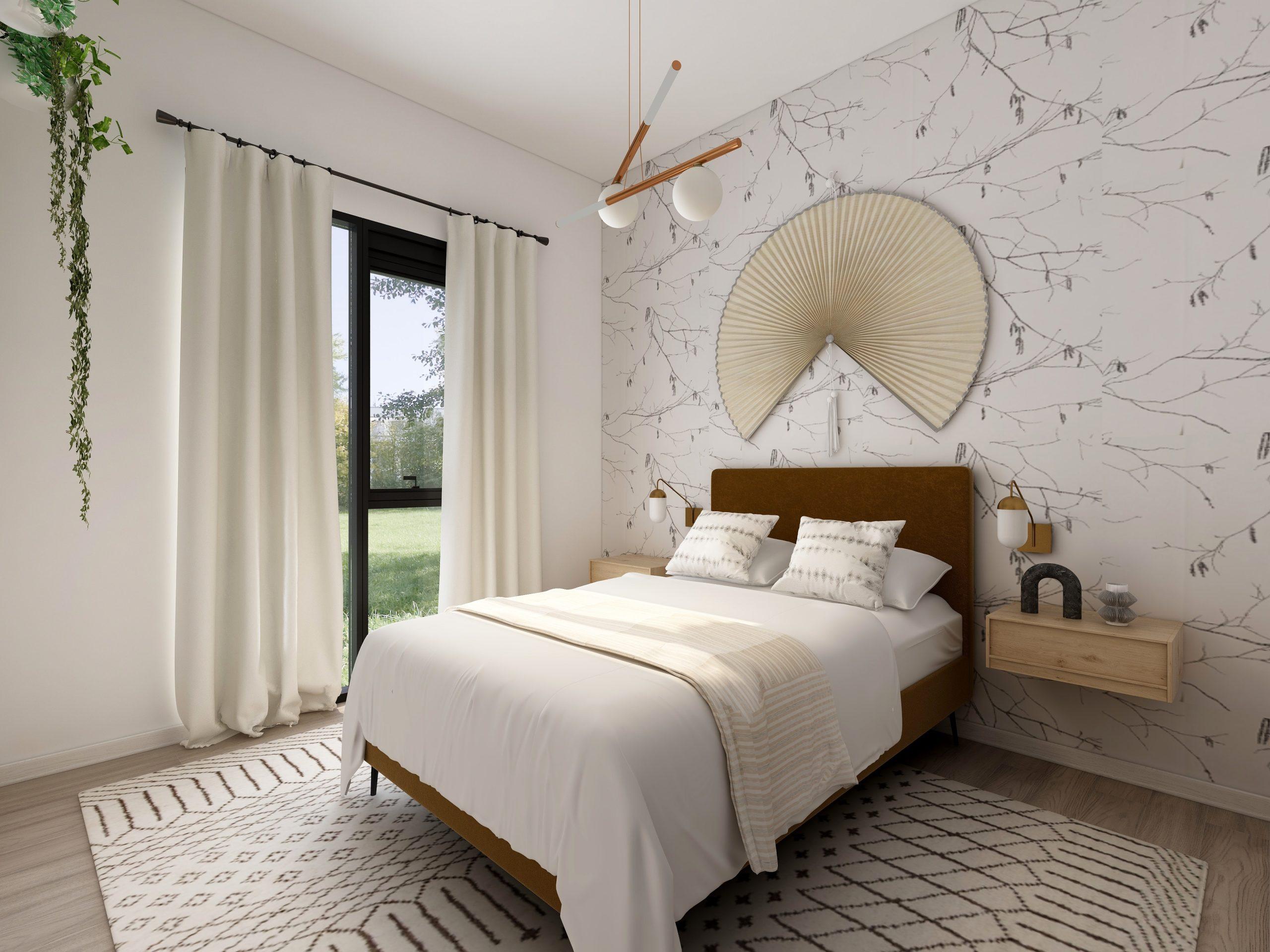 Imagem de um quarto decorado com papel de parede.