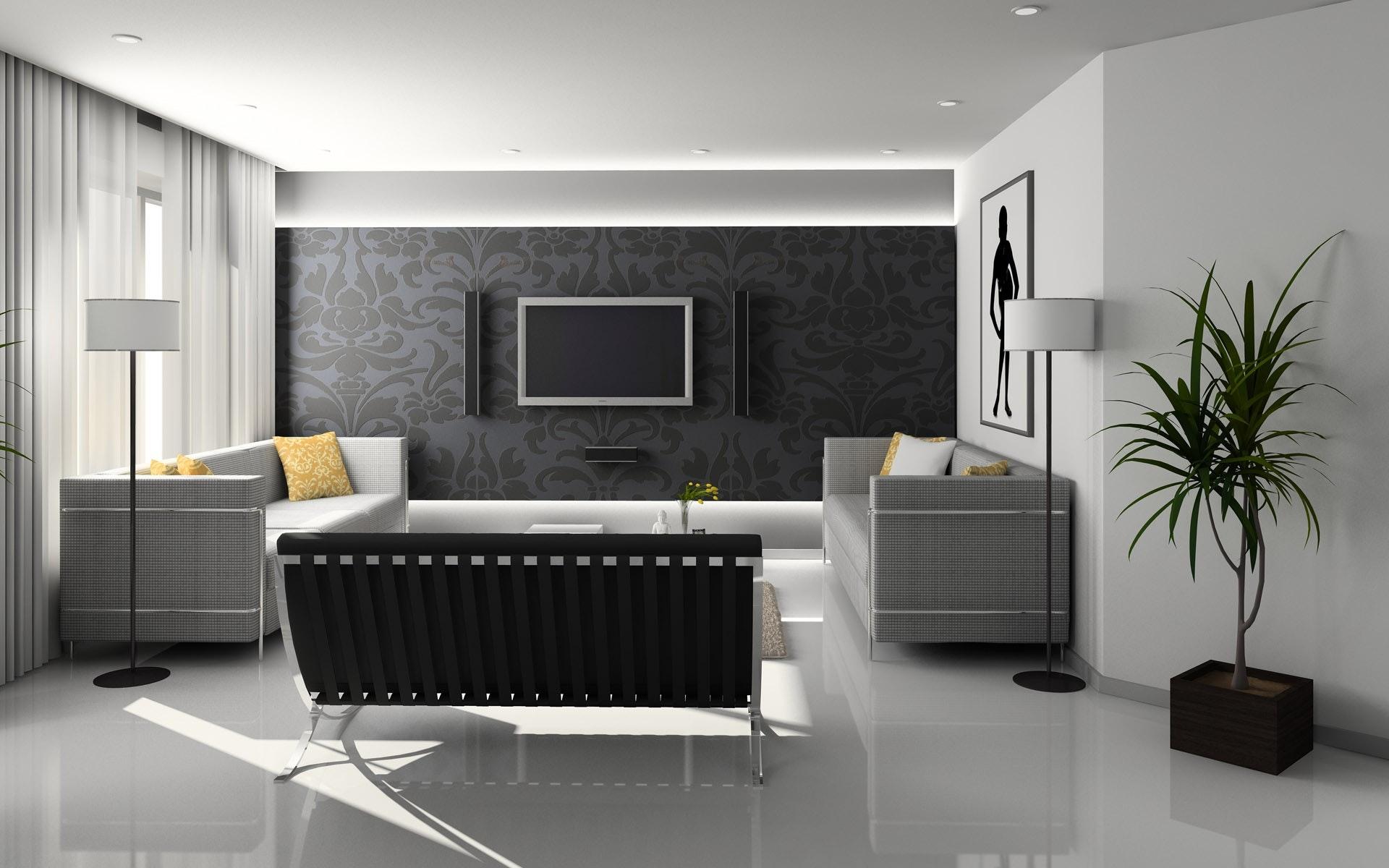 Imagem de uma sala de estar decorada com um papel de parede.