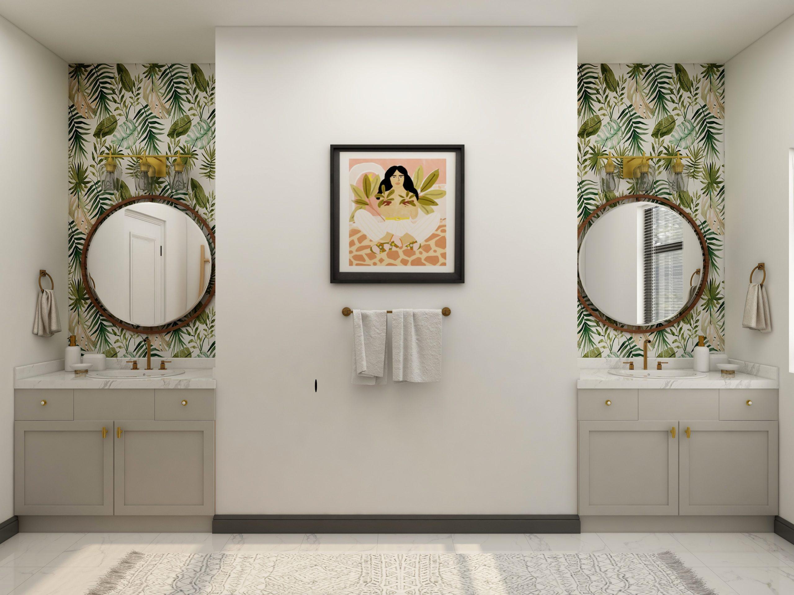 Imagem de um banheiro decorado com papel de parede.