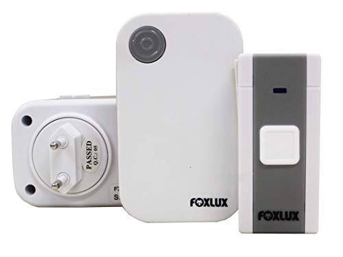 Campainha Digital sem Fio Foxlux – 36 toques – Bivolt – 1 Campainha + 1 Acionador + 1 Bateria p/acionador – Resistente a chuva – Alcance até 100m – Branco