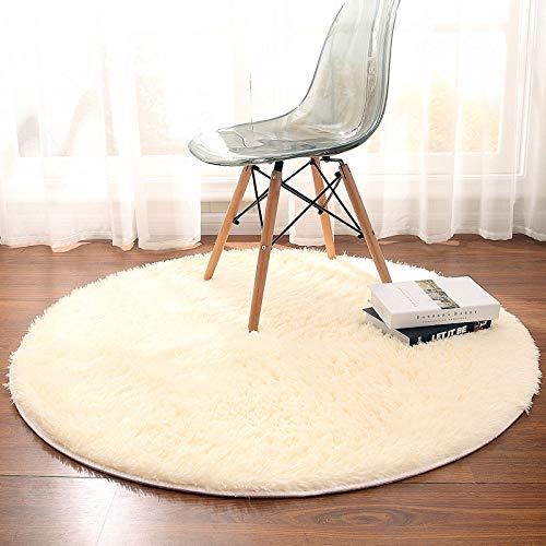 Tapetes redondos bege, macios, redondos, de 60 cm, super macios, para sala de estar, quarto, tapete de ioga, tapete para casa, tapete felpudo