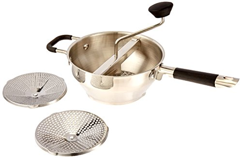 Moedor de alimentos ExcelSteel 580 com 3 tamanhos de moagem, 43 cm x 21 cm x 9 cm, para texturas versáteis em sopas, molhos, e alimentos