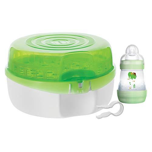 Esterilizador de Mamadeiras da MAM, Esterilizador de Mamadeira a Vapor para Micro-ondas com Mamadeira Anticólica e Pinça para Bico, 3 Peças, Verde